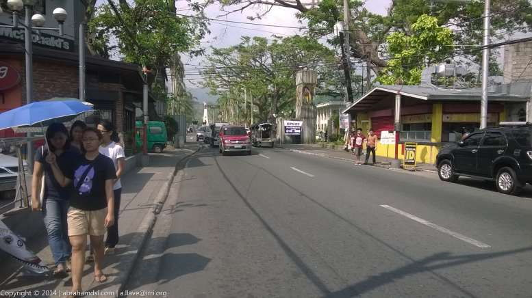 View of road leading to UPLB entrance a few meters away
