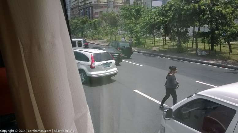 Jaywalking passenger, who just got off the bus in the midst of the road.