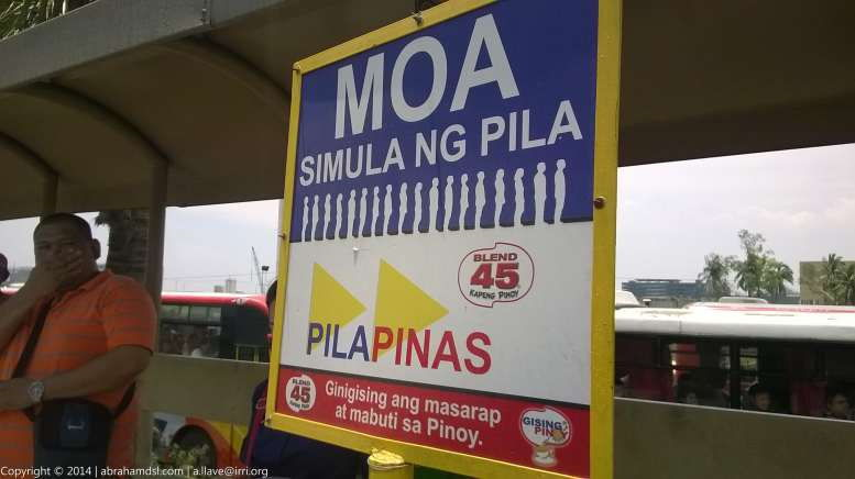 Signage in the transport terminal indicating the start of the line for SM Mall of Asia-bound passengers.
