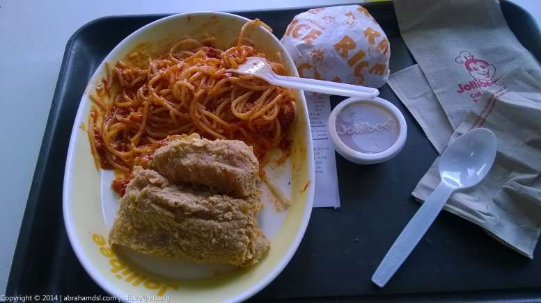 Jollibee Chickenjoy with Spaghetti Meal, along with Extra Rice and Gravy