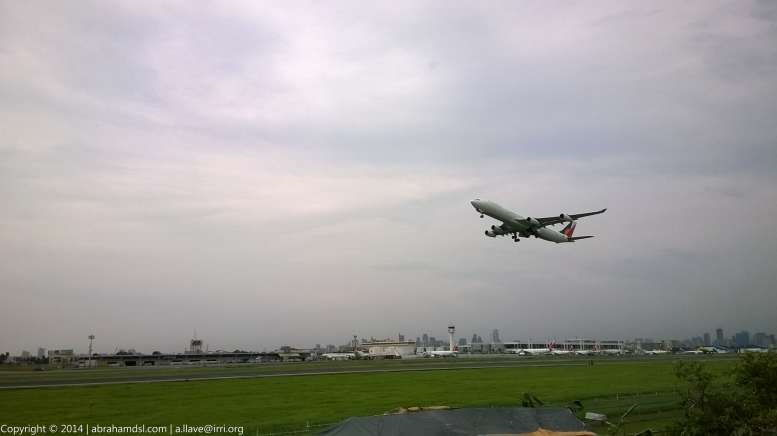 A Philippine Airlines Airbus A340 aircraft taking off.