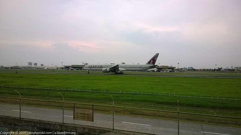 Arriving Qatar Airways aircraft.
