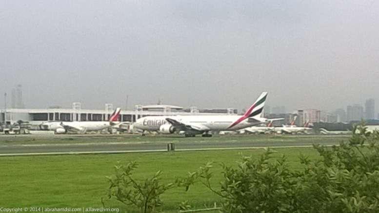 Emirates Boeing 777-300ER aircraft arriving