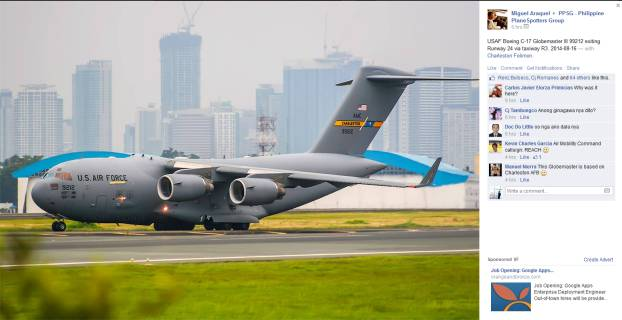 Boeing Globemaster C-17 of the United States Air Force (USAF), arriving, clearer shot from someone else.